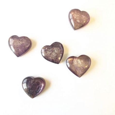 Gem Quality Lepidolite hearts
